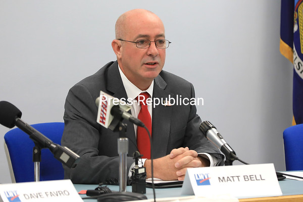 Matt Bell, Republican candidate for Clinton County sheriff, speaks at a debate in Plattsburgh earlier this week. He went head-to-head with incumbent Sheriff David Favro, a Democrat, on issues including cost of school resource officers and Sheriff's Department overtime costs.<br /> KAYLA BREEN/ Staff photo