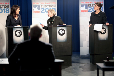 Green Party candidate Lynn Kahn (middle) delivers some choice words to Republican incumbent Elise Stefanik, while Tedra Cobb, the Democratic Party nominee, awaits her turn during a taping of a NY-21 Congressional debate at Mountain Lake PBS in Plattsburgh Tuesday afternoon. GABE DICKENS/ P-R PHOTO