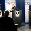 Green Party candidate Lynn Kahn (middle) delivers some choice words to Republican incumbent Elise Stefanik, while Tedra Cobb, the Democratic Party nominee, awaits her turn during a taping of a NY-21 Congressional debate at Mountain Lake PBS in Plattsburgh Tuesday afternoon.<br /> GABE DICKENS/ P-R PHOTO