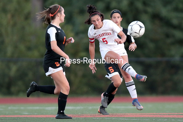 Beekmantown's Emma Beach boots the ball upfield during a Northern Soccer League Division I girls match Thursday at Plattsburgh High. GABE DICKENS/ P-R PHOTO