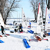 With the air nice and crisp, sailors work on setting up their boats Thursday for The International Class DN iceboats North American Championship races at the Plattsburgh Downtown Boat Launch. Racing will take place today and Saturday. Racers come from all over the country to compete in the two day event.<br><br>(ROB FOUNTAIN/STAFF PHOTO)