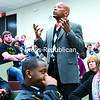 SUNY Plattsburgh Center for Diversity Director Dr. J.W. Wiley addresses the issue of race in the shooting death of Michael Brown in Ferguson, Mo., in an emotional speech during a forum at the college Wednesday evening.<br><br>(GABE DICKENS/P-R PHOTO)