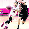Plattsburgh State's John Perez (left) races towards the basketball past MIT's Matt Redfield during the first round of the NCAA Division III Men's Basketball Tournament at Memorial Hall.<br><br>(GABE DICKENS/P-R PHOTO)