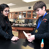 Plattsburgh Middle School students and Science Olympians Zoya Qudsi (left) and Ben Field prepare for Sounds of Music, an event they will compete in at the New York State Science Olympiad in April.<br><br>(ROB FOUNTAIN/STAFF PHOTO)