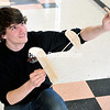 Plattsburgh High School student Walker Gosrich test-flies the glider he built for the State Science Olympiad competition. The PHS Science Olympiad team recently won the regional competition and is participating at the state level today and Saturday.<br><br>(ROB FOUNTAIN/STAFF PHOTO)