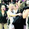 Northern Adirondack celebrates its victory over Seton Catholic in the Section VII Class C girls' basketball championship game at the Field House in Plattsburgh Friday.<br><br>(GABE DICKENS/P-R PHOTO)