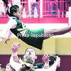 A cheerleader with the Northern Adirondack Central School Bobcats squad gets tossed in the air during the competition in Beekmantown. Leslie LaBarge and Karen LaBombard coach that group.<br><br>(Gabe Dickens/P-R Photo)