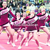 The Saranac Central School Chiefs perform in unison a routine to a big crowd. Danielle Desrocher coaches the cheer squad with Monica McComb as assistant coach.<br><br>(Gabe Dickens/P-R Photo)