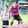 Saranac's Sobaan Ayub comes down the home stretch of the boys' 400-meter hurdles at Friday's Section VII Track and Field State Qualifier at Beekmantown.. (GABE DICKENS/P-R PHOTO)