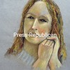 """""""Olivia"""" by Raymond """"Chuck"""" Dilzer is featured in """"Portraits,"""" an exhibition of works created by the Portrait Drawing Open Studio Group at the Strand Center for the Arts.<br><br>(ROB FOUNTAIN/STAFF PHOTO)"""