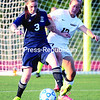 Ausable Valley's Meghan Strong (left) and Plattsburgh's Sarah Duquette duel for possession of the ball during Northern Soccer League action at the Plattsburgh High Athletic Complex Thursday.<br><br>()
