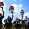 Adam Jaquish (18), Noah Gilbo (44), Troy Welch (42) and Hayden Fernandez (52) are expected to be key players for the Moriah football team. The Vikings begin the 2014 season tonight against Plattsburgh High.<br><br>(BEN ROWE/P-R PHOTO)