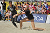 14 September 2008:  Kerri Walsh makes a dig as Misty May-Treanor prepares for a spike during the women's semi-final match in the AVP Crocs Cup Shootout at Pier 30 in San Francisco, CA.  May-Treanor and Walsh defeated Jennifer Boss and April Ross 21-12, 17-21, 16-14.