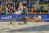 14 September 2008:  Misty May-Treanor dives for a ball during the women's final match of the AVP Crocs Cup Shootout at Pier 30 in San Francisco, CA.  May-Treanor and Kerri Walsh defeated Elaine Youngs and Nicole Branagh 21-16, 21-12.