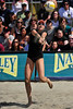 14 September 2008:  Kerri Walsh makes a save during the women's semi-final match in the AVP Crocs Cup Shootout at Pier 30 in San Francisco, CA.   Misty May-Treanor and Walsh defeated Jennifer Boss and April Ross 21-12, 17-21, 16-14.