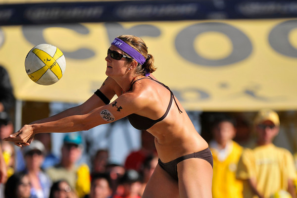 14 September 2008:  Nicole Branagh receives a serve during the women's final match of the AVP Crocs Cup Shootout at Pier 30 in San Francisco, CA.   Misty May-Treanor and Kerri Walsh defeated Elaine Youngs and Branagh 21-16, 21-12.