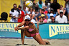 14 September 2008:  Jennifer Boss makes a save during the women's semi-final match in the AVP Crocs Cup Shootout at Pier 30 in San Francisco, CA.   Misty May-Treanor and Kerri Walsh defeated Boss and April Ross 21-12, 17-21, 16-14.