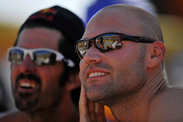 14 September 2008:  Phil Dalhausser (right) and Todd Rogers during the men's final match of the AVP Crocs Cup Shootout at Pier 30 in San Francisco, CA.   Jake Gibb and Sean Rosenthal defeated Dalhausser and Rogers 11-21, 21-19, 15-13.
