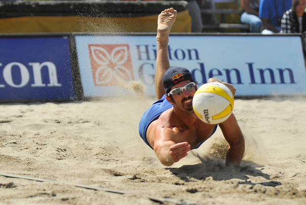 14 September 2008:  Todd Rogers dives for a ball during the men's semi-final match in the AVP Crocs Cup Shootout at Pier 30 in San Francisco, CA.   Phil Dalhausser and Rogers defeated Stein Metzger and Mark Williams 21-19, 21-19.