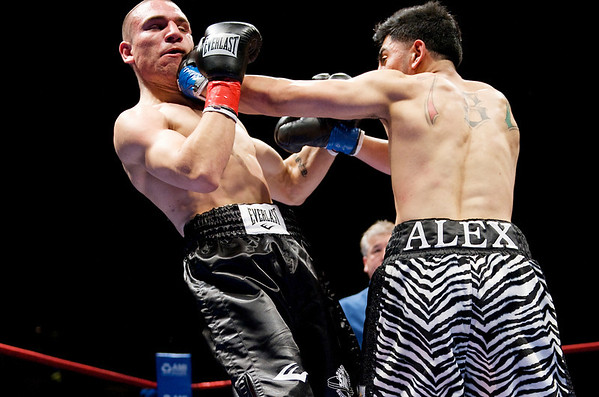 07 May 2009:  Alex Paracha (zebra trunks) hits Adrian Tait (black trunks) during their fight at American Metal & Iron Fight Night at the Tank: The Next Chapter at HP Pavilion in San Jose, CA.  Paracha won a majority decision.