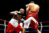 11 September 2008: Ty Barnett (red trim) and Jose Cruz (white trim) during Barnett's sixth round TKO jr. welterweight victory at the HP Pavilion in San Jose, CA.