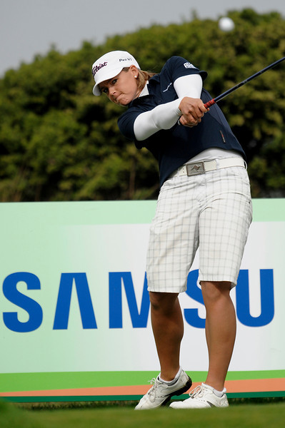 04 October 2008:  Katherine Hull (AUS) tees off during the Samsung World Championship, Round 3, at the Half Moon Bay Golf Links Ocean Course in Half Moon Bay, CA.  Hull is two shots off the lead heading into the final round.