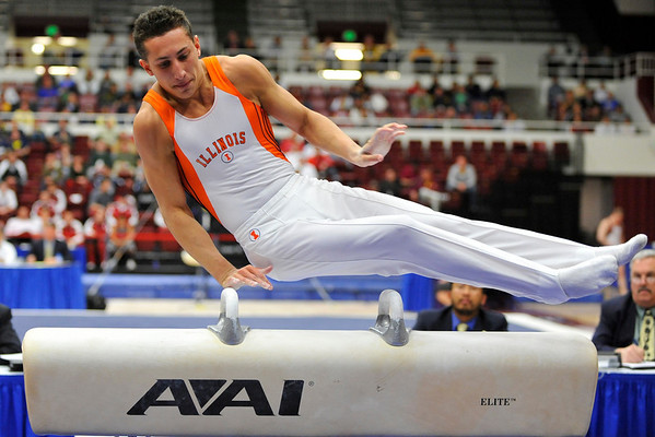 19 April 2008:  Illinois' Daniel Ribeiro during the 2008 NCAA Men's Gymnastics Championships at Stanford University's Maples Pavilion in Stanford, CA.