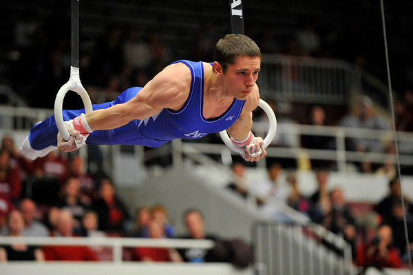 19 April 2008:  The United States Air Force Academy's Greg Stine during the 2008 NCAA Men's Gymnastics Championships at Stanford University's Maples Pavilion in Stanford, CA.