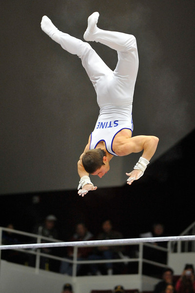 18 April 2008:  The United States Air Force Academy's Greg Stine during the 2008 NCAA Men's Gymnastics Championships at Stanford University's Maples Pavilion in Stanford, CA.