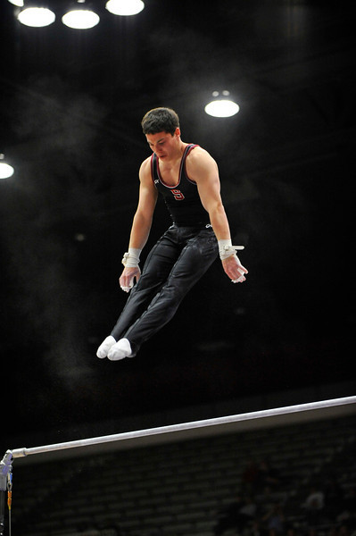 19 April 2008:  Stanford's David Sender during the 2008 NCAA Men's Gymnastics Championships at Maples Pavilion in Stanford, CA.