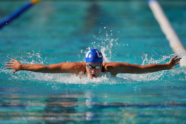 18 May 2008:  Katie Carroll during the XLI Santa Clara International Invitational Women's 200 meter butterfly preliminaries at the Santa Clara Swim Club in Santa Clara, CA.