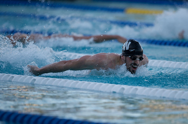 16 May 2008:  Davis Tarwater during the during the XLI Santa Clara International Invitational Men's 200 meter butterfly finals at the Santa Clara Swim Club in Santa Clara, CA.  Tarwater won the event with a time of 1:55.93, breaking the meet record held by Michael Phelps.