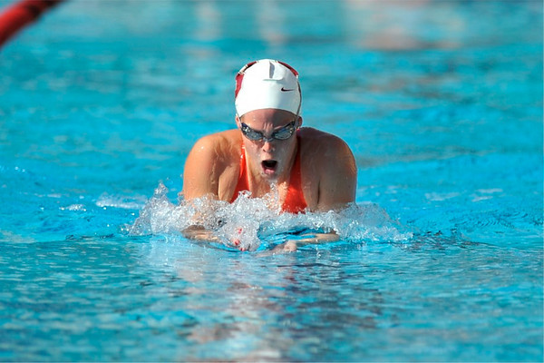 16 February 2008: Stanford Cardinal Liz Smith breaks the pool record for the 200 yard breaststroke during Stanford's win against the California Golden Bears at the Avery Aquatic Center in Stanford, CA.