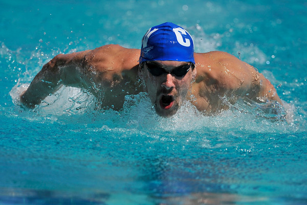 16 May 2008:  World record holder Michael Phelps during the during the XLI Santa Clara International Invitational Men's 400 meter IM preliminaries at the Santa Clara Swim Club in Santa Clara, CA.  Phelps finished the preliminary heats with the best time of 4:18.18.