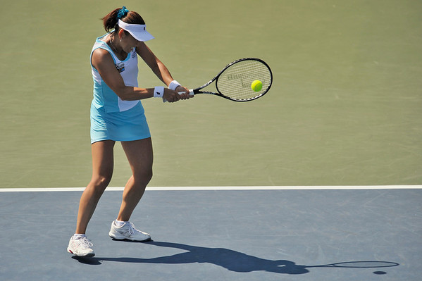 16 July 2008:  Ai Sugiyama of Japan during her 6-3, 6-1 victory over Daniela Hantuchova of Slovakia in their second round singles match at the Bank of the West Classic in Stanford, CA.