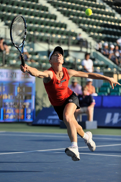 14 July 2008:  Cara Black of Zimbabwe and Liezel Huber of the United States (not pictured) during their 6-4, 6-3 victory over Natalie Grandin of South Africa and Angela Haynes of the United States in their first round doubles match at the Bank of the West Classic in Stanford, CA.