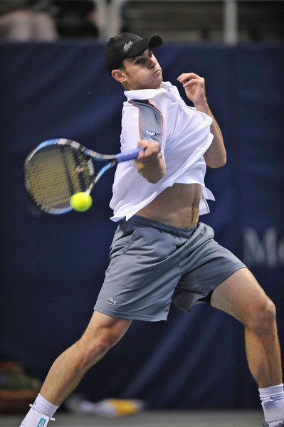 24 February 2008:  Andy Roddick of the United States during his SAP Open finals win, 6-4, 7-5, over Radek Stepanek of the Czech Republic at the HP Pavilion in San Jose, CA.