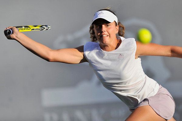 16 July 2008: Michelle Larcher de Brito of Portugal during her 6-4, 3-6, 2-6 loss to Serena Williams of the United States in their second round singles match at the Bank of the West Classic in Stanford, CA.