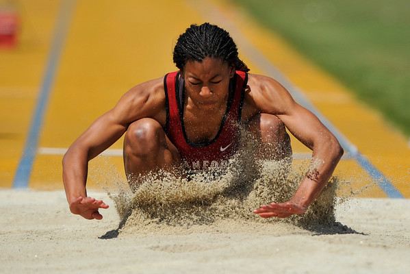 25 April 2008: Stanford's Griffin Matthew during the Brutus Hamilton Invitational at Edwards Stadium / Goldman Field in Berkeley, CA.  Matthew placed sixth in the Women's Long Jump with a 5.86 meter jump.