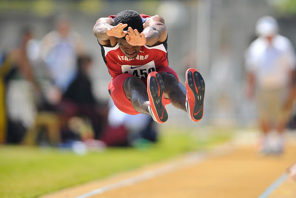 25 April 2008: Stanford's Myles Bradley during the Brutus Hamilton Invitational at Edwards Stadium / Goldman Field in Berkeley, CA.  Bradley finished sixth in the Men's Long Jump with a 6.79 meter jump.