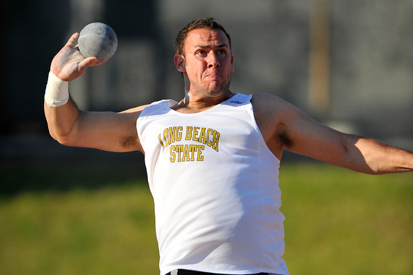 08 March 2008:  Shot put during the Benny Brown Invitational Track and Field Meet at Mt. San Antonio College, in Walnut, CA.