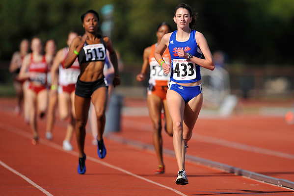 04 May 2008: Simon Fraser's Jessica Smith (433), Team XO's Melanie Hardy (515), and Texas' Katara Rosby (528) finishing the women's 800 meter run during the Payton Jordan Cardinal Invitational at the Cobb Track and Angell Field in Stanford, CA.  Smith won the event with a time of 2:08.45.