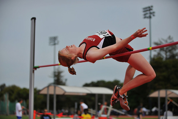 04 April 2008: Stanford Cardinal Lauren Stewart competes in the high jump final during the Stanford Invitational at the Cobb Track and Angell Field in Stanford, CA.  Stewart won the event, clearing 1.75 meters.