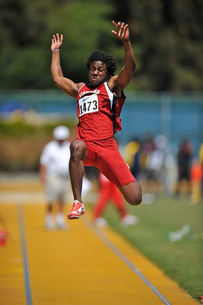 25 April 2008: Stanford's Tunji Munabi during the Brutus Hamilton Invitational at Edwards Stadium / Goldman Field in Berkeley, CA.  Munabi finished third in the Men's Long Jump with a 7.02 meter jump.