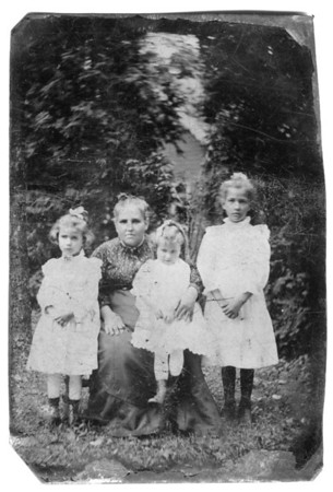 Undated, About 1890 Tintype Unconfirmed, but strongly suspect this is Anna (Bolton) Lukens with three of her children. Possibly (left to right) Charlotte, Mary and Susan. (Courtesy of Mary (Kuck) Petersack)