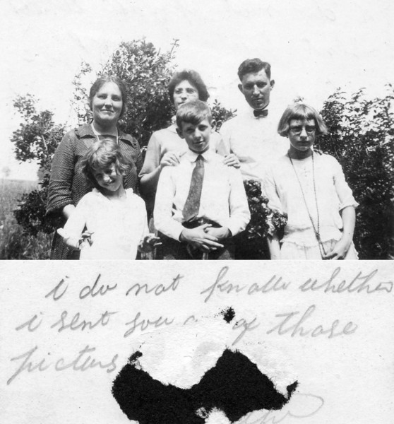 """July 4, (about) 1922 Brant's Farm, Penns Park, Bucks County, PA BACK ROW - Charlotte """"Lottie"""" (Lukens) Brant, Laura Walsh (Bill's girlfriend), William """"Bill"""" F. Lukens. FRONT ROW - Marie Agnes """"Mae"""" (Lukens) Staats,  Francis W. Lukens, and Helen's friend, Ruth. Charlotte and William were Susan V. (Lukens) Keating's siblings. Marie Agnes, Francis W. and Helen would have been cousins to the Belmar family. The notation is by Anna (Bolton) Lukens. The photo was sent to Susan Veronica (Lukens) Keating."""