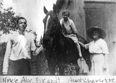 "Undated, About 1919 Brant's Farm, Penns Park, Bucks County, PA LEFT TO RIGHT- Abram Brant, Helen S. (Brant) Ahearn (b.1909), Charlotte ""Lottie"" (Lukens) Brant.  (Courtesy of Gotsch / Bruton)"