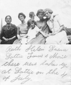"July 4, (about) 1922 Brant's Farm, Penns Park, Bucks County, PA BACK ROW - Charlotte ""Lottie"" (Lukens) Brant, Laura Walsh, Francis W. Lukens, Helen S. (Brant) Ahearn and her friend, Ruth. FRONT ROW - Marie Agnes ""Mae"" (Lukens) Staats. The notation is by Anna (Bolton) Lukens. The photo was sent to Susan Veronica (Lukens) Keating."
