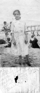 "Undated, about 1918 - 1919 Asbury Park Beach, NJ Susan Maria (Keating) Kuck. ""This picture was taken 4 years ago at Asbury Park Beach"". Signed Susan Keating. Susan Maria was born in 1909, she looks to be about 9 or 10 here."