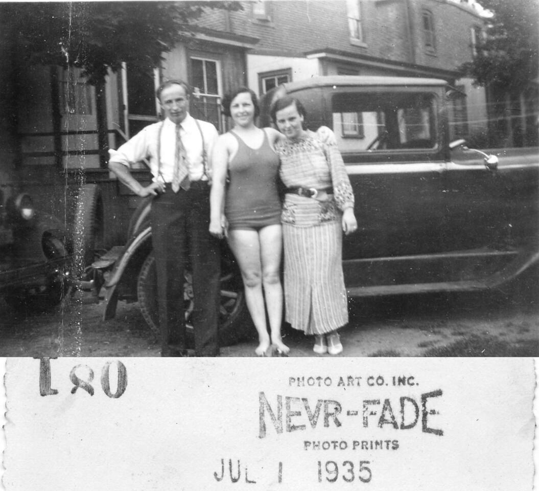 July 4, 1935 Martin Kuck, Susan Maria (Keating) Kuck, Mary (Keating) Kuck. Taken at a 4th of July gathering with Martin Kuck, wife Susan Marie (Keating) Kuck, Henry Kuck and wife Mary Alice (Keating) Kuck.